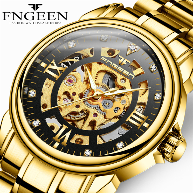 Fngeen Brand Quality Gold Watch for Man Self Winding Automatic Mechanical Watches Business Luxury Muške Skeleton Orologio Uomo