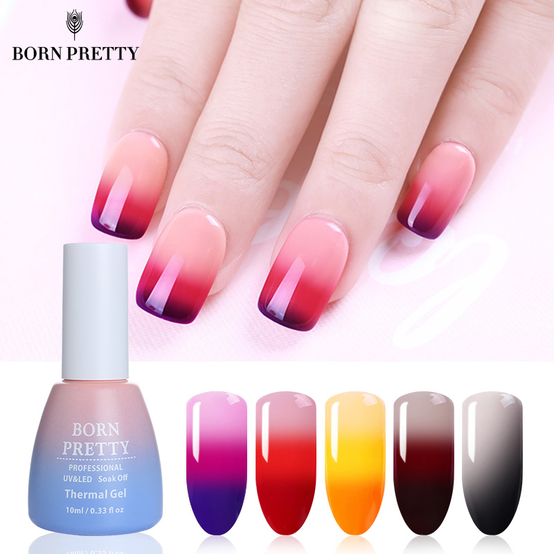 BORN PRETTY 3 boje termalni gel lak za nokte 10 ml temperatura Promjena boje Soak Off UV gel lak manikura, Nail Art lak
