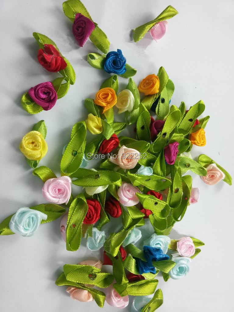 Mixcolor 1.5 CM mini silk roses heads making satin ribbon, hair garland decoration accessories, diy obrtni arrangements,scrapbooking