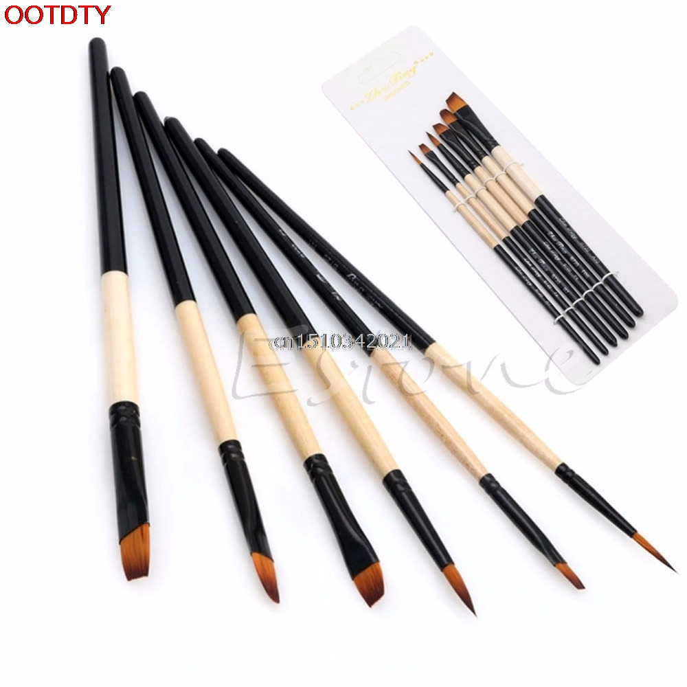 6pcs kist male najlon četka za kosu gvaš akril maslačna slikarstvo Art Craft Set