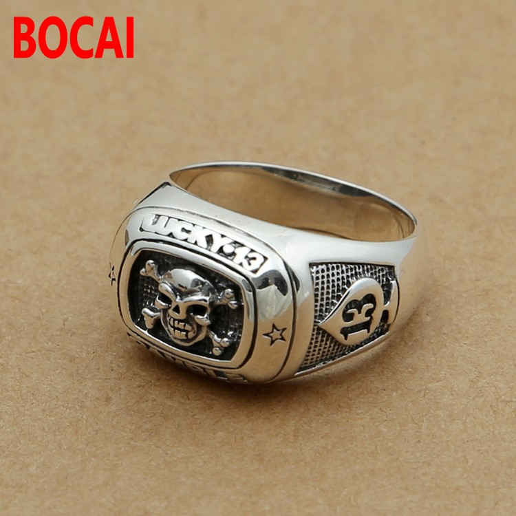 S925 silver retro 13 spades lucky men of Pirate Skull Ring