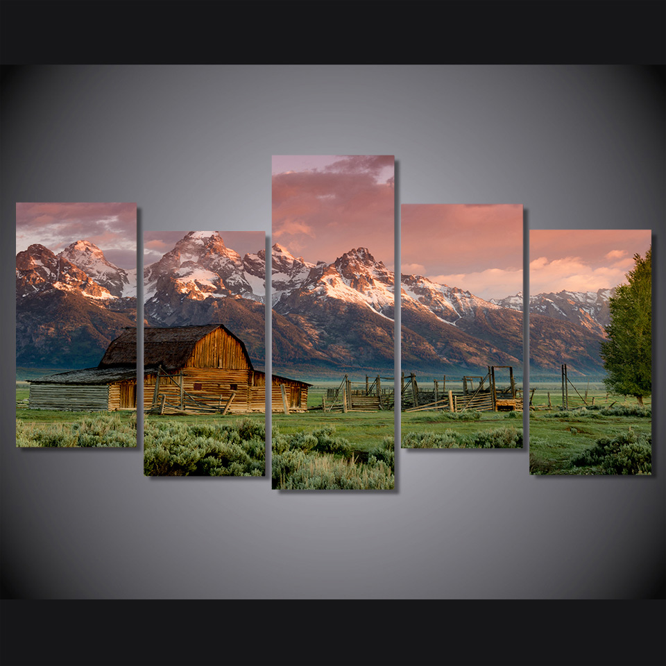 HD Printed barn teton rocky mountains Painting on canvas room decoration print poster picture Besplatna dostava/ee2326