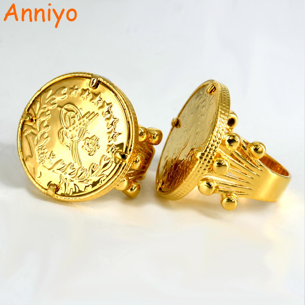 Anniyo New Turkish Coin Ring Gold Color and Copper Metal Ring for Women, Arab Turkey Rings for Girl Turks nakit 047011