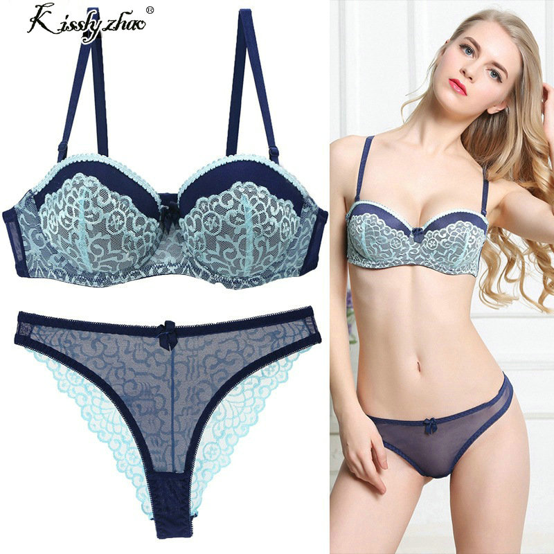 ABC 75 80 85 90 95 Thong Bra Set Push Up Lace Women Underwear Panty Set Set выдалбливают G String vezeni grudnjak kratke setove
