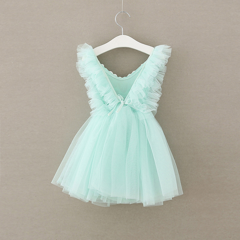 toddler Girls Dresses summer Princess ruffles sleeve Dress back cross Design for Baby Girls cvjetne čipke odjeća 3-8Y
