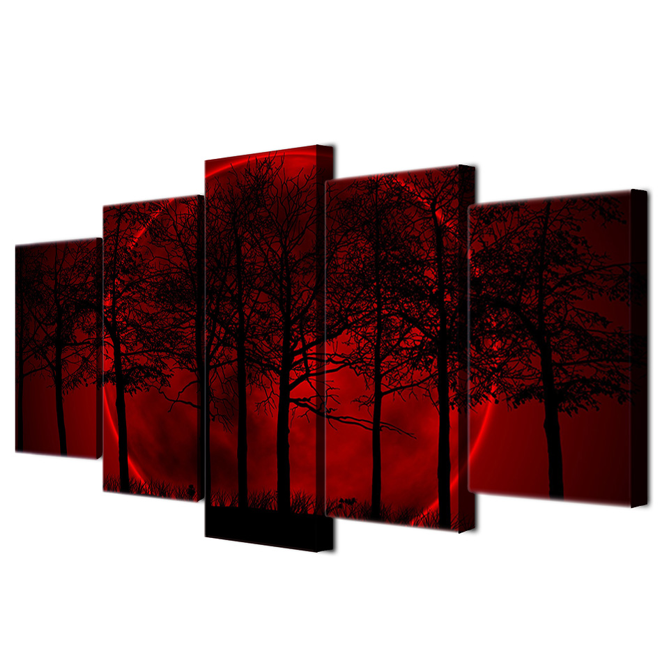 HD Printed Red Moon Sky Painting on canvas room decoration print poster picture platna Besplatna dostava/ee2022