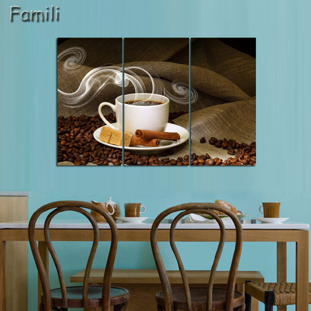 3Picture Platna Painting Coffee Print background Painting On Canvas Art Picture Kitchen Home Decoration Unframed