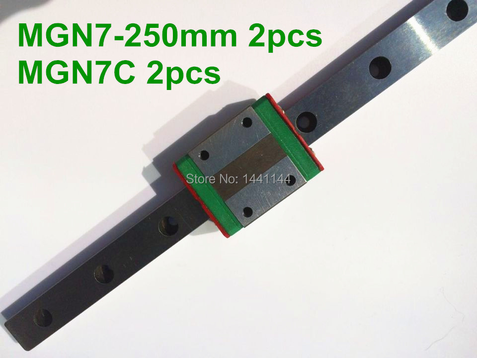 Kossel Pro Miniature 7mm linear slide :2pcs mgn7-250mm rail+2pcs mgn7c carriage for X Y Z axies 3d printer partsc