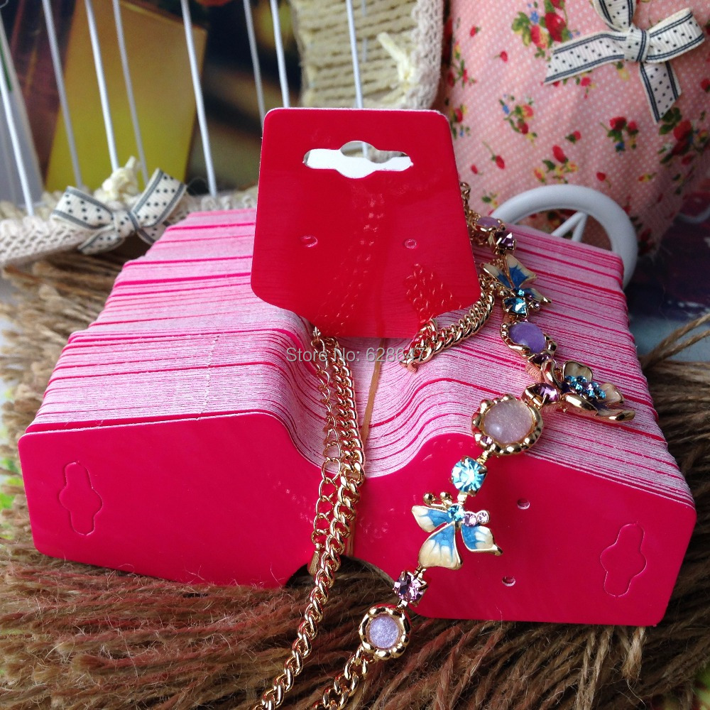 2015 New Hot Blank hot pink Necklace Card & DIY Earring Display Card Custom Logo MOQ: 1000 Earring Logo Printing Cost Extra