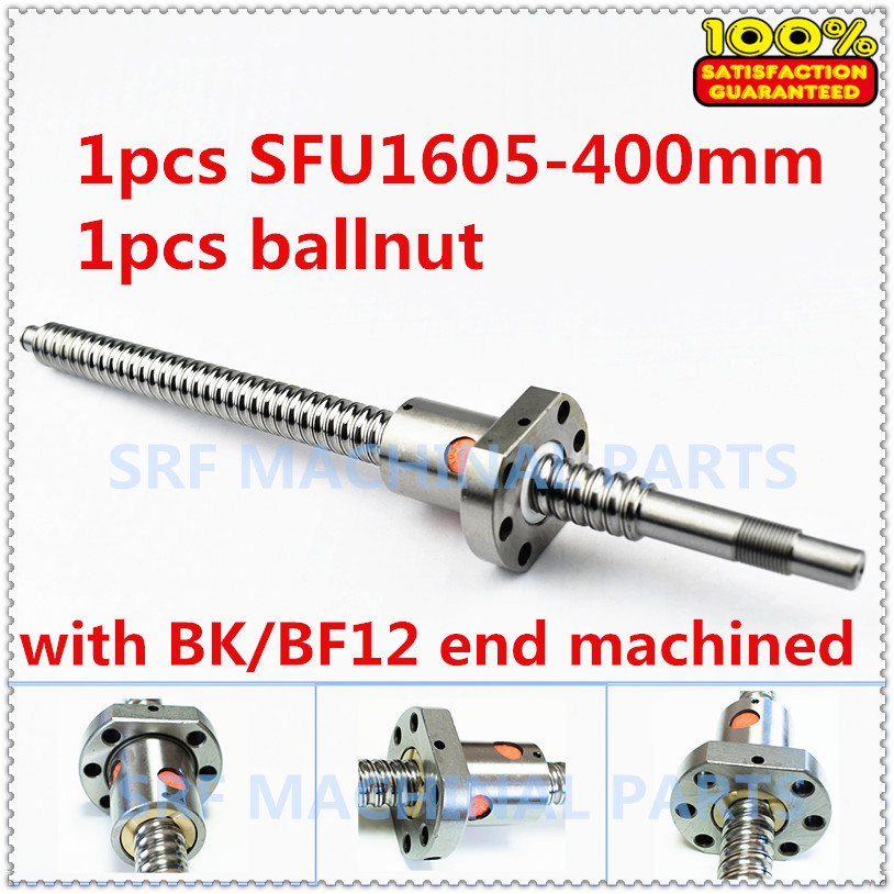 16mm 1605 Rolled ball lead screw 1pcs SFU1605-L400mm with 1pcs 1605 single ball nut for CNC part