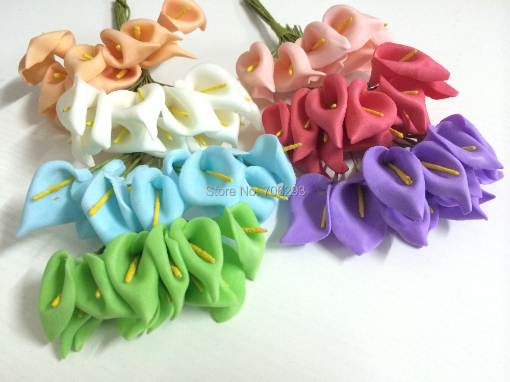 2014 NEW2. 5CMX144PCS/ bag 7different Colors Mulberry Calla Lily Paper Flower Bouquet/Scrapbooking Flower simulacija flowers PE