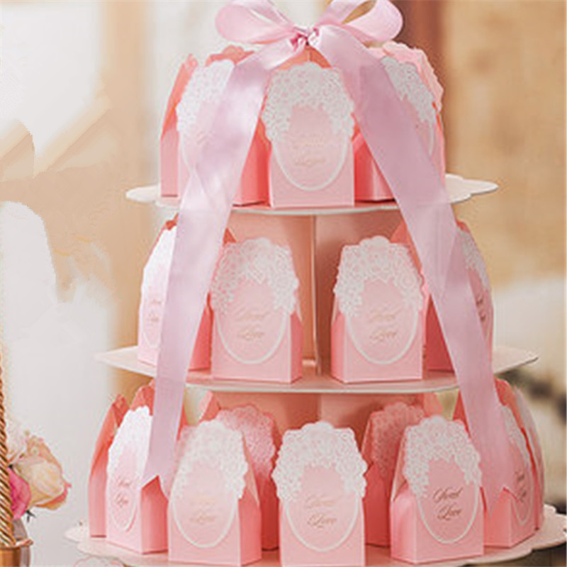 25pcs Sweet Love Wedding Favor Flower Box Candy Box Wedding Favors poklon kutija čokolade kutija svadbena dekoracija(bez postolja)