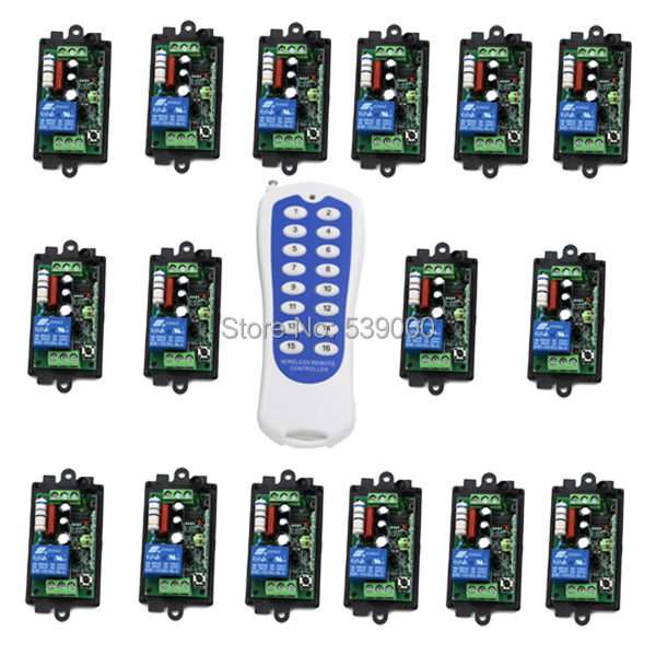 AC220V 1 CH 1CH RF Wireless Switch Remote Control Switch System, 16ch Transmitter Toggle/Momentary,315/433. 92