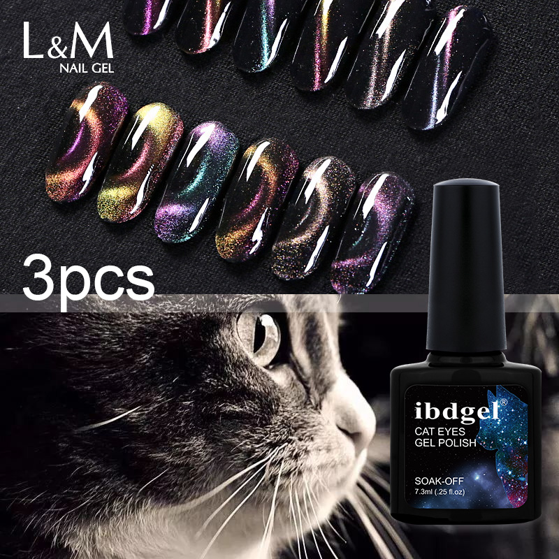 3 kom ibdgel 3D Magic Kameleon Cat eye nail gel soak off UV LED gel-lak za nokte