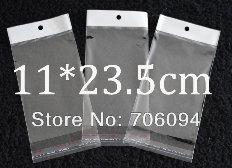 FreeShipping 11*23.5 cm, 1000pcs/lot Clear Samoljepljive Seal Poly Opp Plastic Bag With Header, Hole Jewelry Earring Packing bag