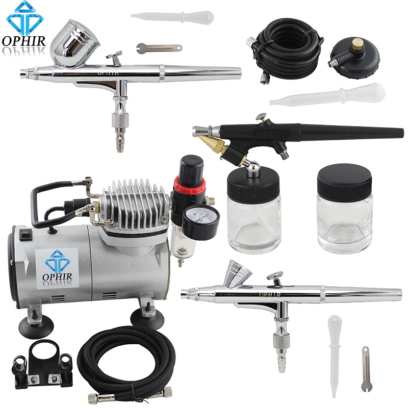 OFIR 0.2 mm 0.3 mm 0.8 mm 3-Airbrush Air Compressor Kit for Hobby Model Painting 110V, 220V #AC089 + 004A+071+073