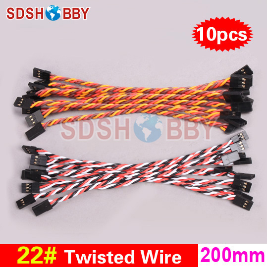10pcs* 22 / 22AWG Heavy Duty Twisted Wire 20cm 200mm ravna linija za kontrolu leta / Male-male Servo Wire-JR / color Futaba