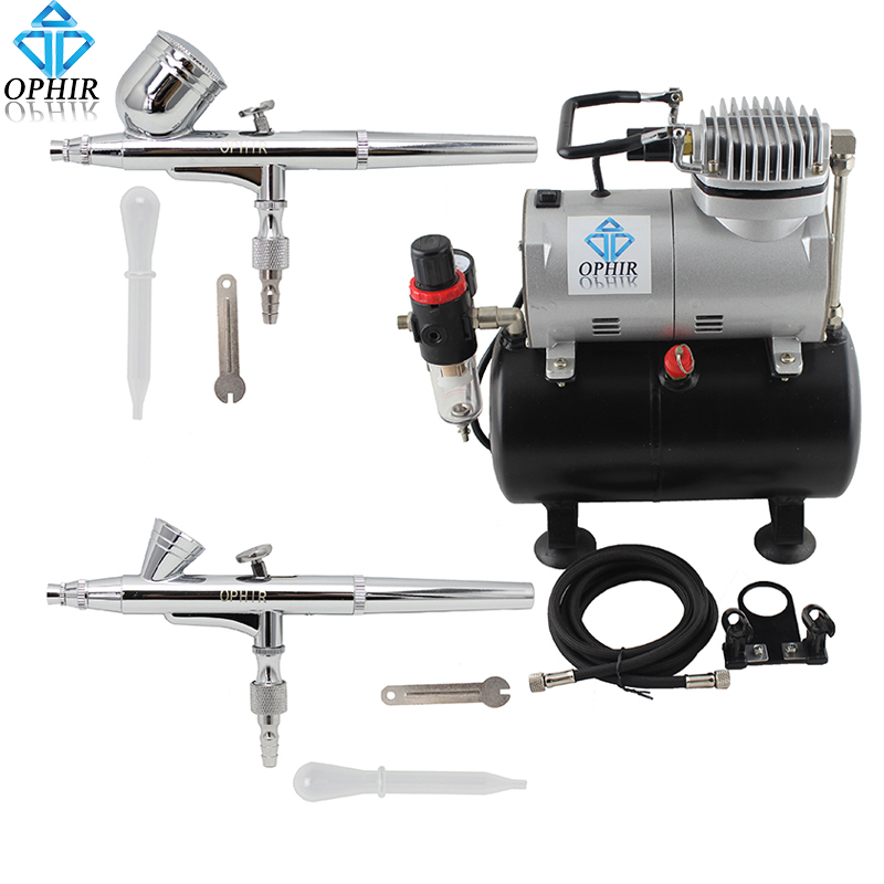 OFIR 2-Dual Action Airbrush Kit with Air Tank Compressor for Nail Art Šminka Cosmetic Body Paint Air Brush Gun_AC090+004A+073