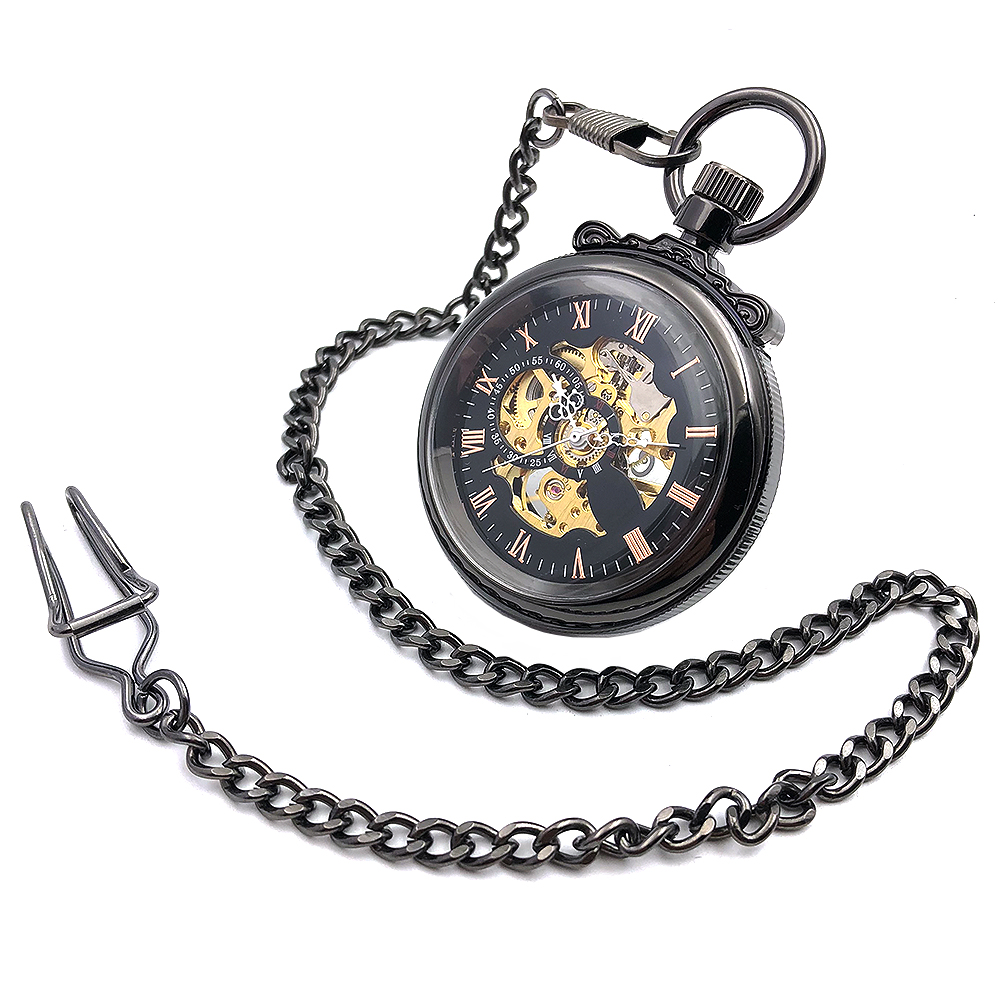 CAIFU Brand Skeleton Steampunk Open Face Black Case gospodo mehanički ručni заводные cool vojne rimske brojke brojčanik džepni sat