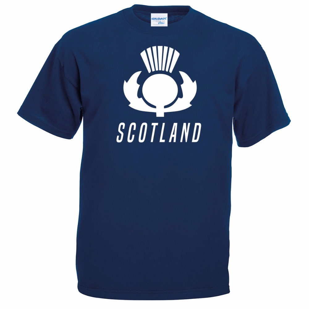 Hot Buy 2018 Fashion Free Shipping Summer Fashion Scotland Thistle Navy 6 Nations Rugbyer 2018 Sporter Top Scottish T shirt