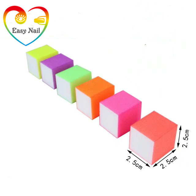 5pcs fluorescence color 25* 25*25mm Buffer mix color Buffing Sanding Files Block Acrylic Art Nail Tips-pedikerski alat u rasutom stanju