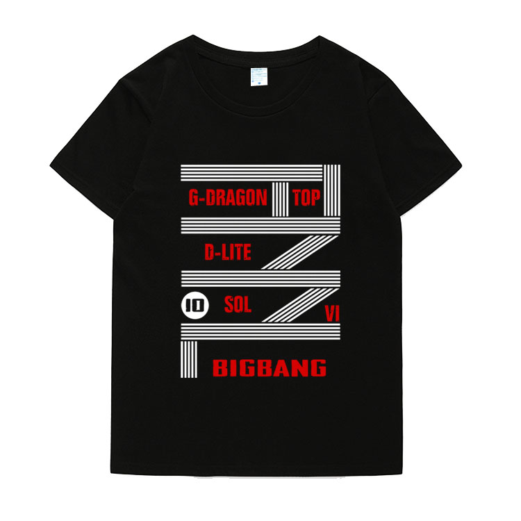 Ljetni stil bigbang 10 years final concert all member name printing o vrat short sleeve t-shirt kpop unisex t shirt