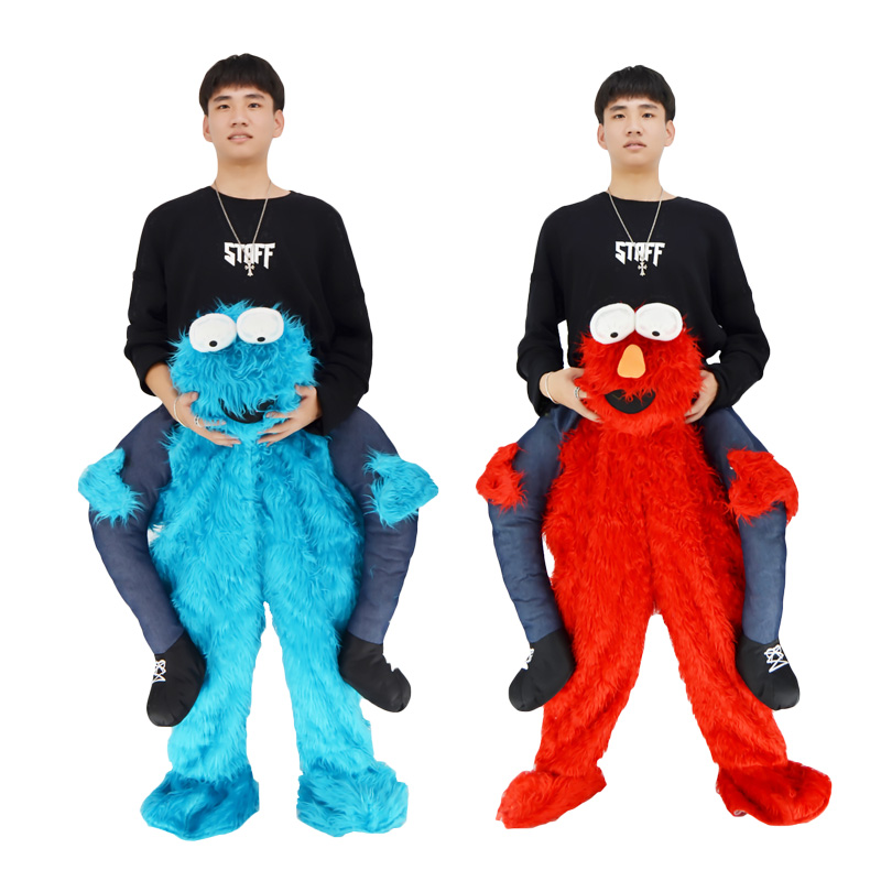 2017 Elmo Stuffed Ride on Me Sesame Street COOKIE MONSTER Mascot Carry Back Fancy Dress Costums