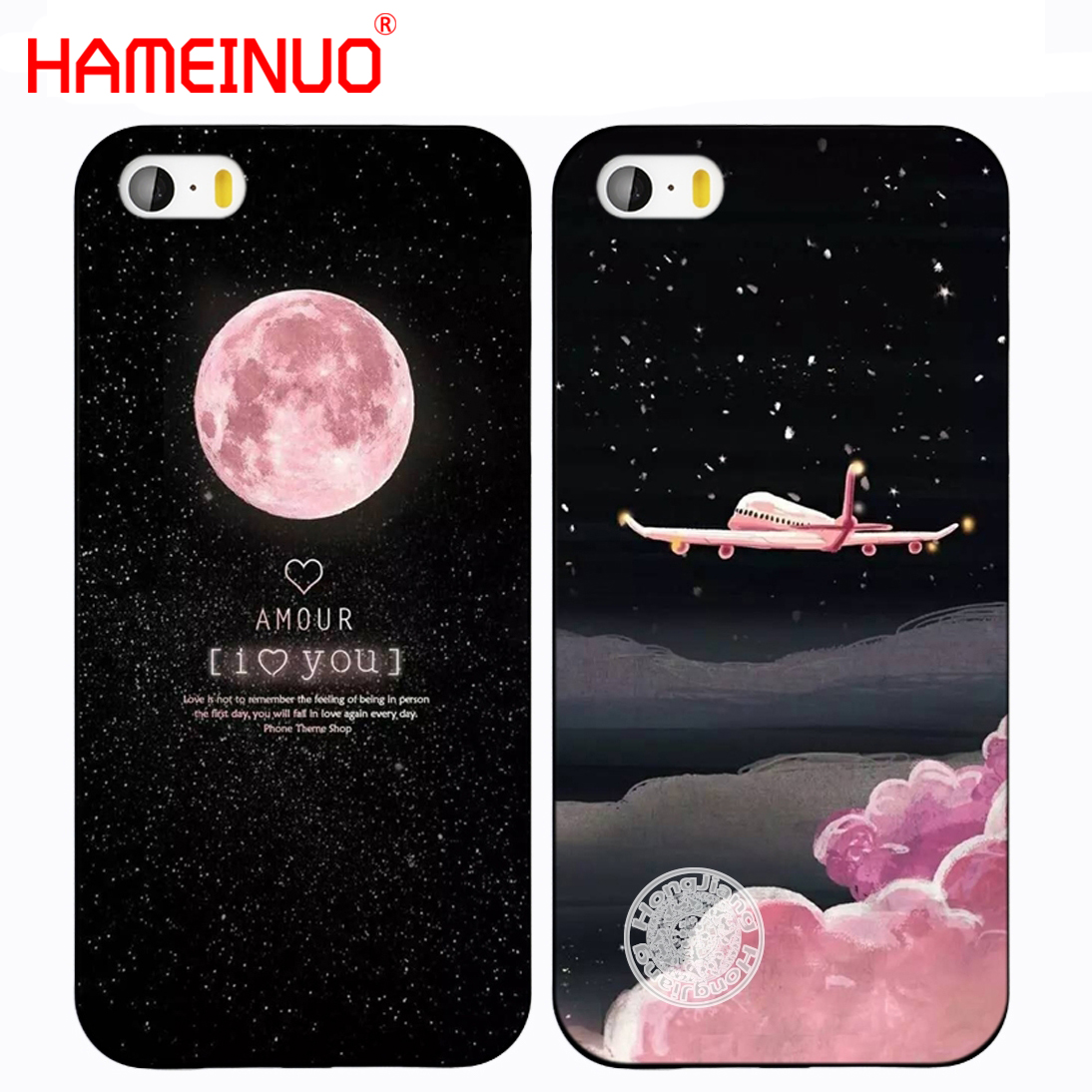 HAMEINUO Space Moon zrakoplova air plane love night print sjedalo za telefon iphone 5 5S SE black hard PC design for girl lady