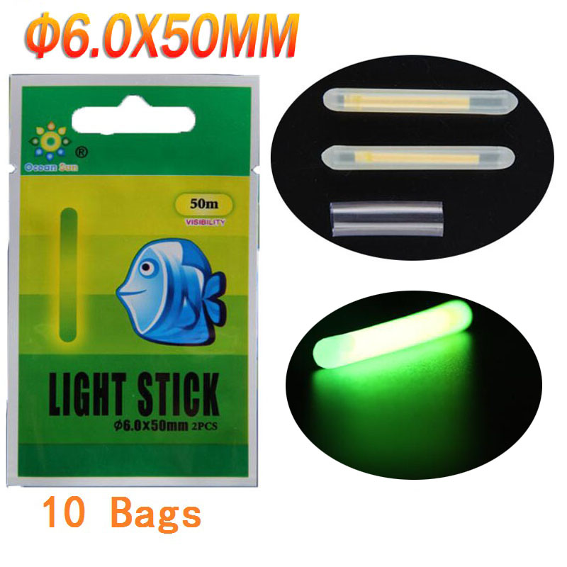 10 vrećica Dia:6. 0X50MM Ribolov Plovkom Glow Stick Ribolov Lighting Stick Ponuda Green Glow Stick For Night Ribolov Plovkom Accessories