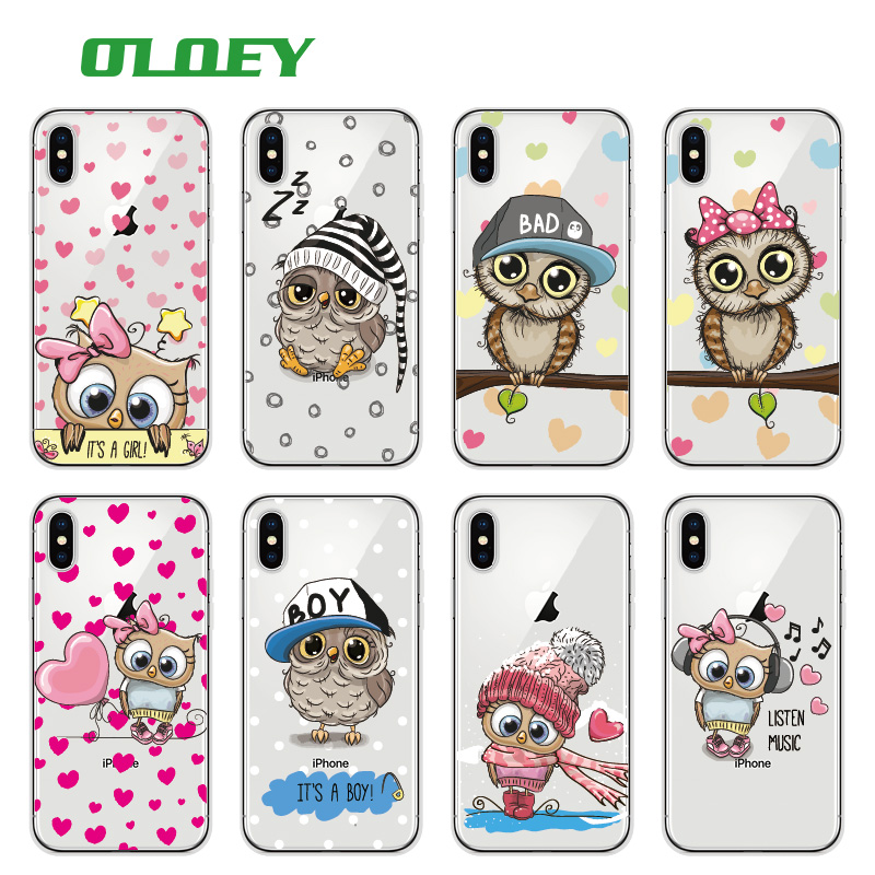 OLOEY Slatka Owl Hearts Lover Christmas Soft Clear Phone Case Fundas Coque Cover za iPhone 7 7Plus 6 6S 8 8PLUS X SAMSUNG