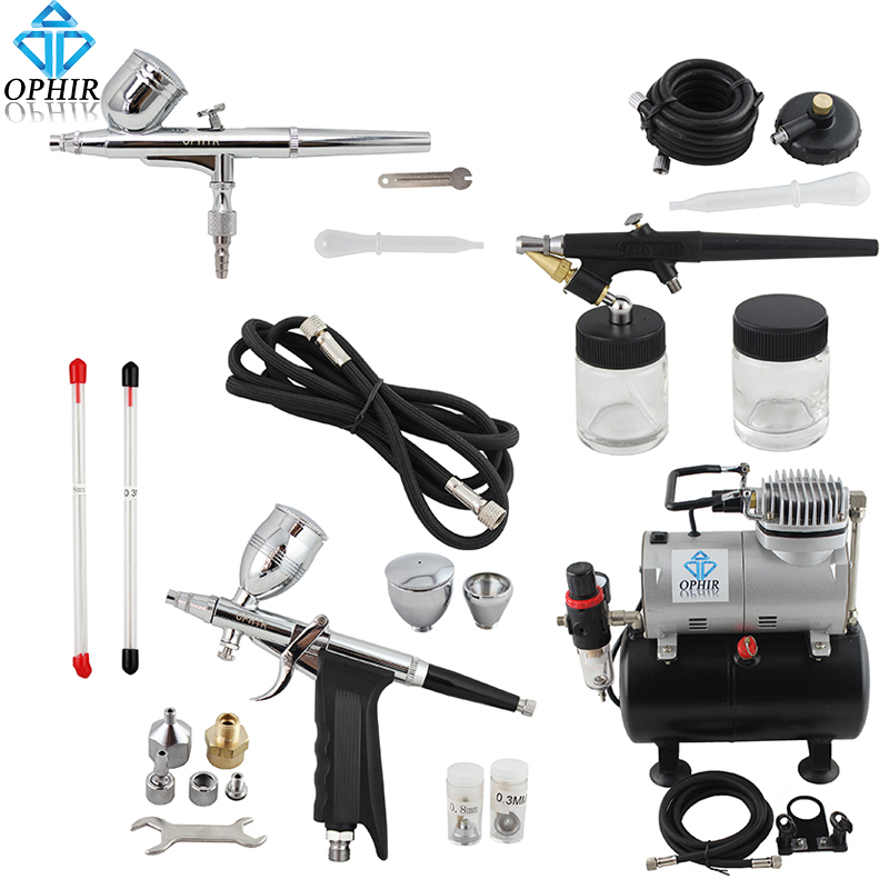 OFIR Pro 0.3 mm 0.5 mm 0.8 mm 3-Airbrush Kit w / Air Tank Compressor for Hobby Cake De Art Set _AC090+004A+071+069