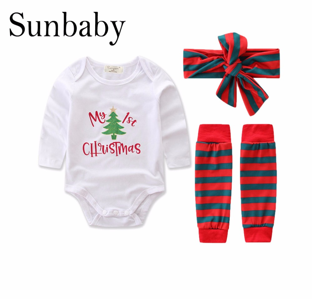 2017 New Winter Letter My First Christmas baby girl clothes set romper with headband leg warmer 3 piece set
