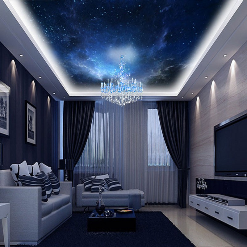beibehang Custom night 3d space room landscape wallpaper wall decor for living room bedroom home papel de parede 3d flooring